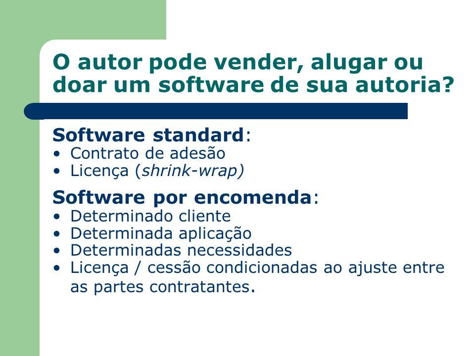 Software standard: Contrato de adesão Licença (shrink-wrap) Software por encomenda: Determinado cliente Determinada aplicação Determinadas necessidade