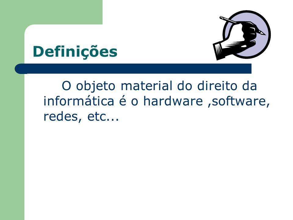 Definições O objeto material do direito da informática é o hardware,software, redes, etc...