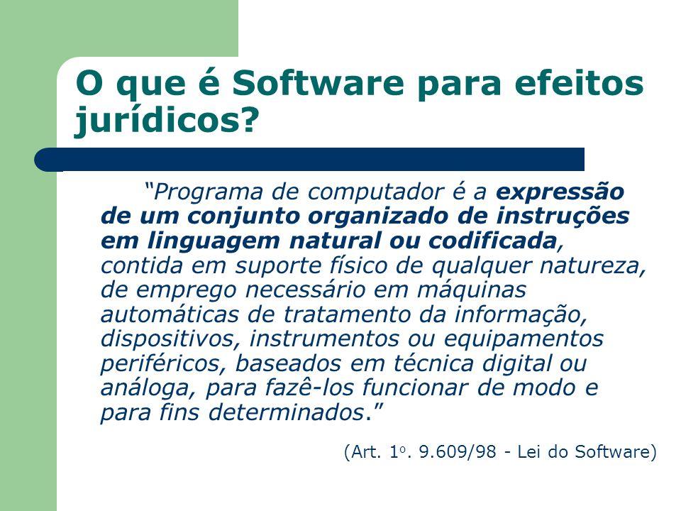 O que é Software para efeitos jurídicos? Programa de computador é a expressão de um conjunto organizado de instruções em linguagem natural ou codifica