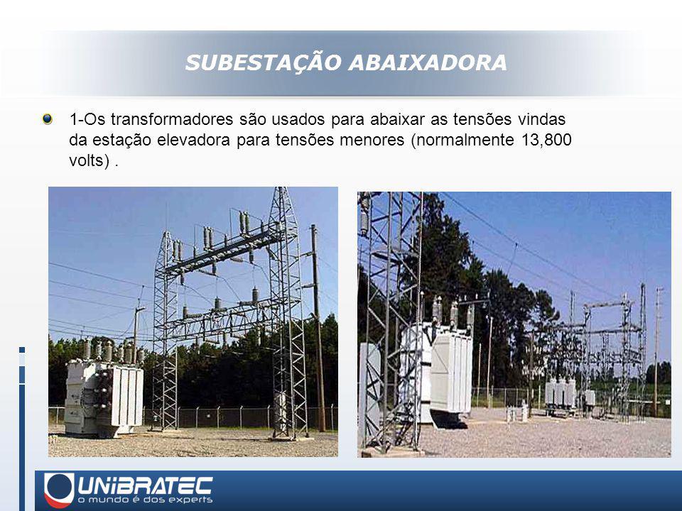 SUBESTAÇÃO ABAIXADORA 1-Os transformadores são usados para abaixar as tensões vindas da estação elevadora para tensões menores (normalmente 13,800 volts).