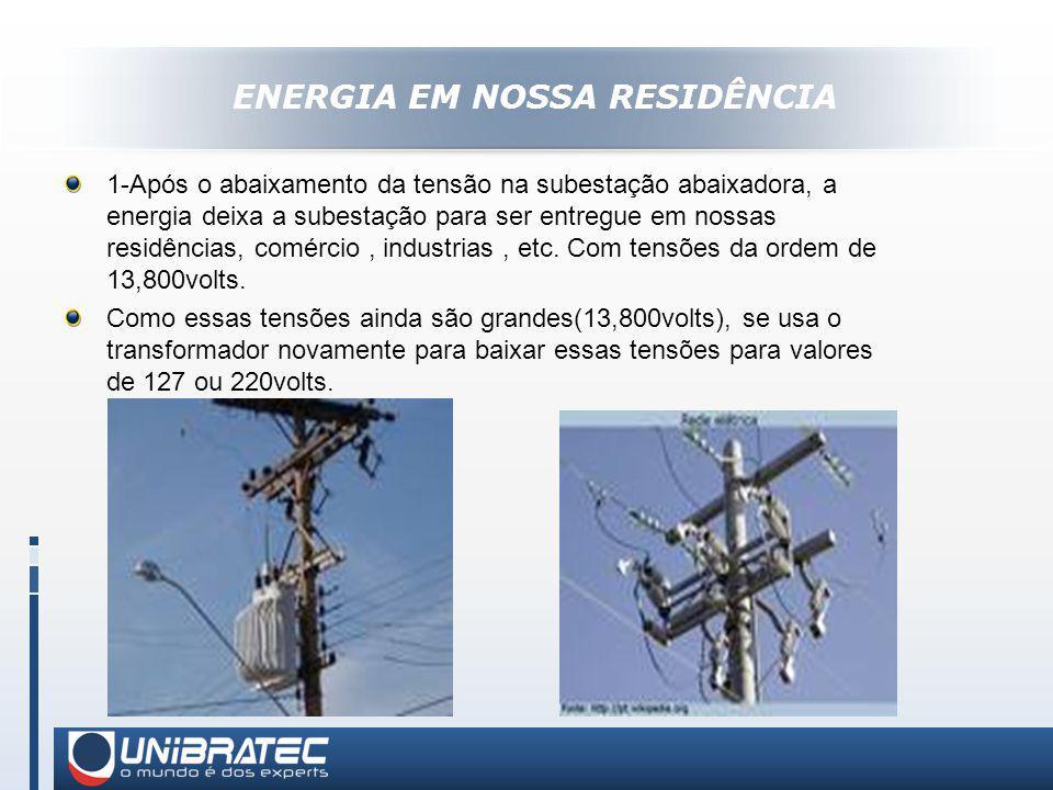 ENERGIA EM NOSSA RESIDÊNCIA 1-Após o abaixamento da tensão na subestação abaixadora, a energia deixa a subestação para ser entregue em nossas residências, comércio, industrias, etc.