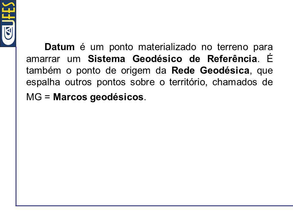 Datum é um ponto materializado no terreno para amarrar um Sistema Geodésico de Referência. É também o ponto de origem da Rede Geodésica, que espalha o