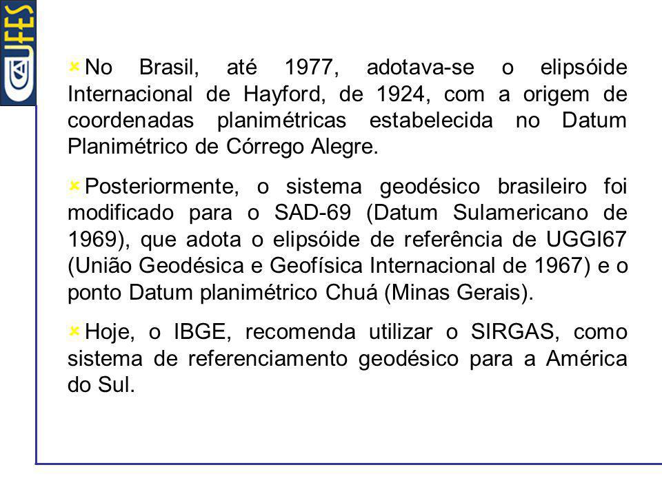 No Brasil, até 1977, adotava-se o elipsóide Internacional de Hayford, de 1924, com a origem de coordenadas planimétricas estabelecida no Datum Planimé