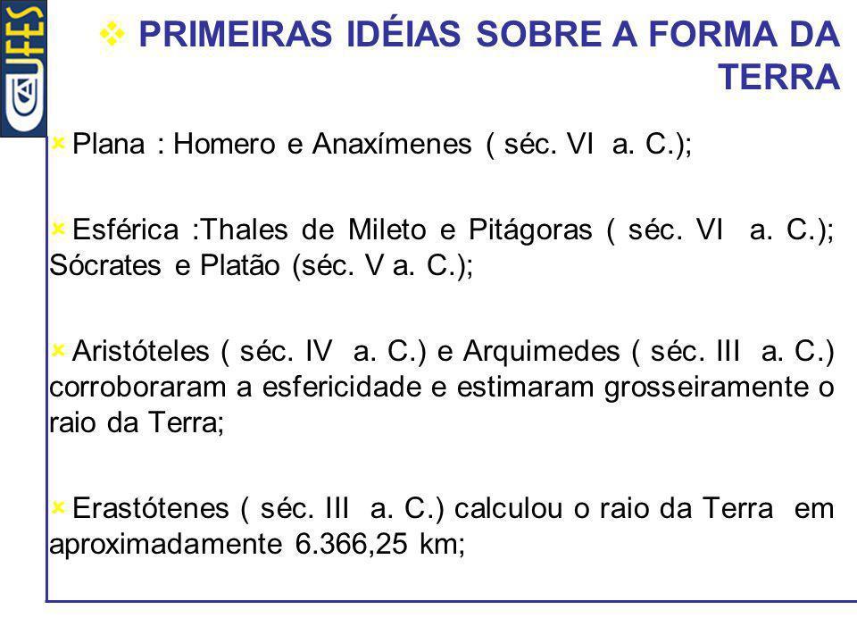 PRIMEIRAS IDÉIAS SOBRE A FORMA DA TERRA Plana : Homero e Anaxímenes ( séc. VI a. C.); Esférica :Thales de Mileto e Pitágoras ( séc. VI a. C.); Sócrate