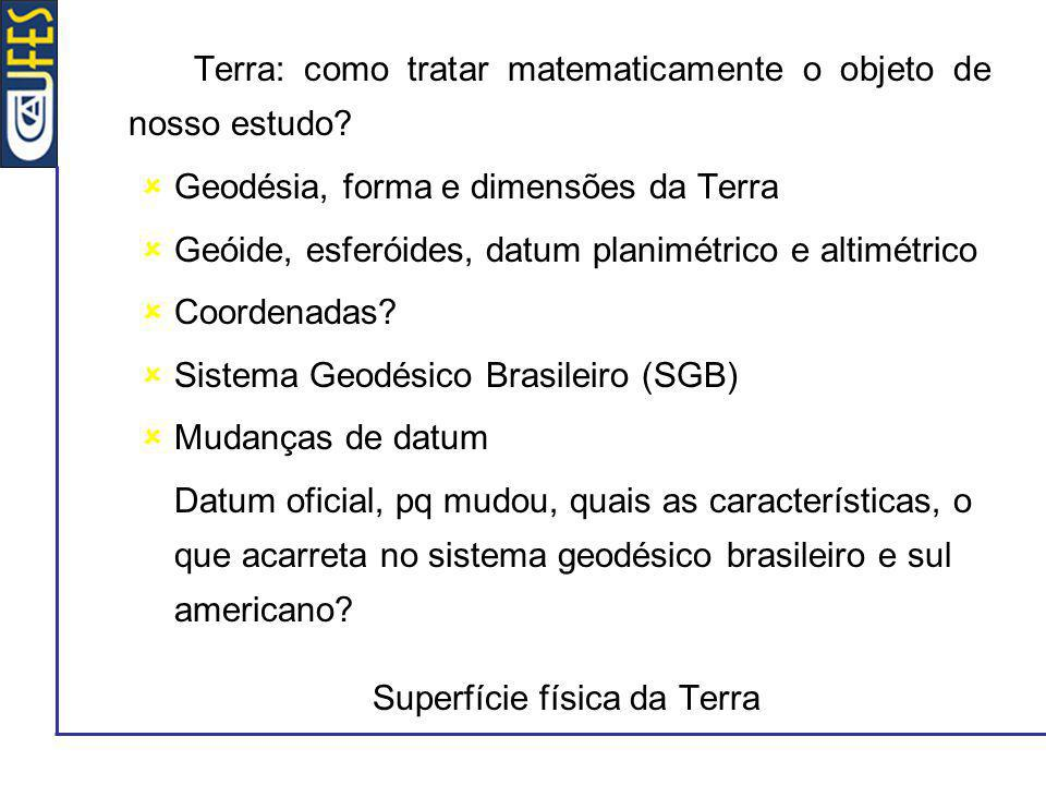 Terra: como tratar matematicamente o objeto de nosso estudo? Geodésia, forma e dimensões da Terra Geóide, esferóides, datum planimétrico e altimétrico