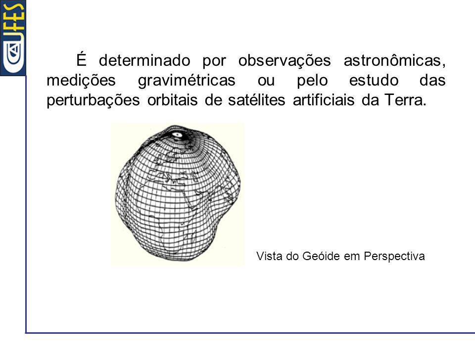é uma superfície equipotencial do campo gravítico terrestre - coincide aproximadamente com a superfície do nível médio dos mares; a geometria do geóide é dada relativamente a uma superfície elipsoidal de referência; o afastamento relativo ao elipsóide de referência é designado por ondulação do geóide (e denotado por N) - determinado por: observações astronômicas, medições gravimétricas ou pelo estudo das perturbações orbitais de satélites artificiais da Terra.