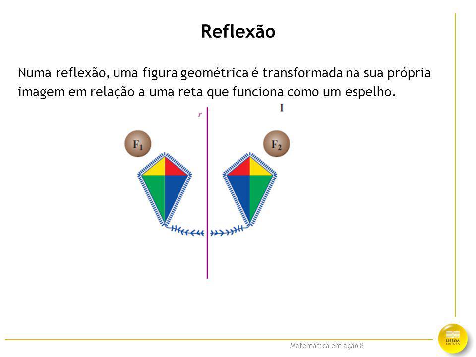 Matemática em ação 8 Reflexão Numa reflexão, uma figura geométrica é transformada na sua própria imagem em relação a uma reta que funciona como um esp