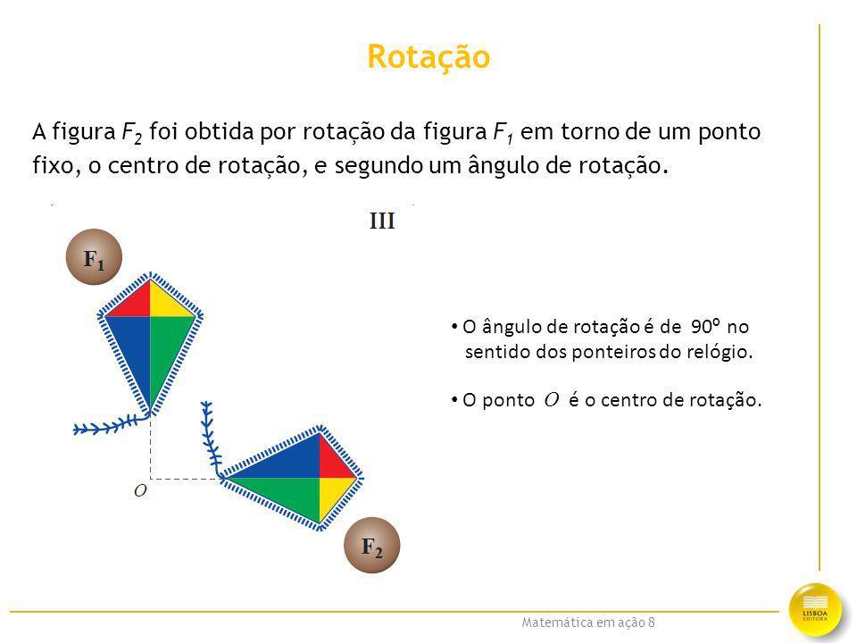 Matemática em ação 8 Rotação A figura F 2 foi obtida por rotação da figura F 1 em torno de um ponto fixo, o centro de rotação, e segundo um ângulo de