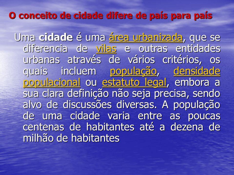 O conceito de cidade difere de país para país Uma cidade é uma área urbanizada, que se diferencia de vilas e outras entidades urbanas através de vário
