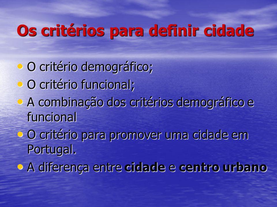 Os critérios para definir cidade O critério demográfico; O critério demográfico; O critério funcional; O critério funcional; A combinação dos critério