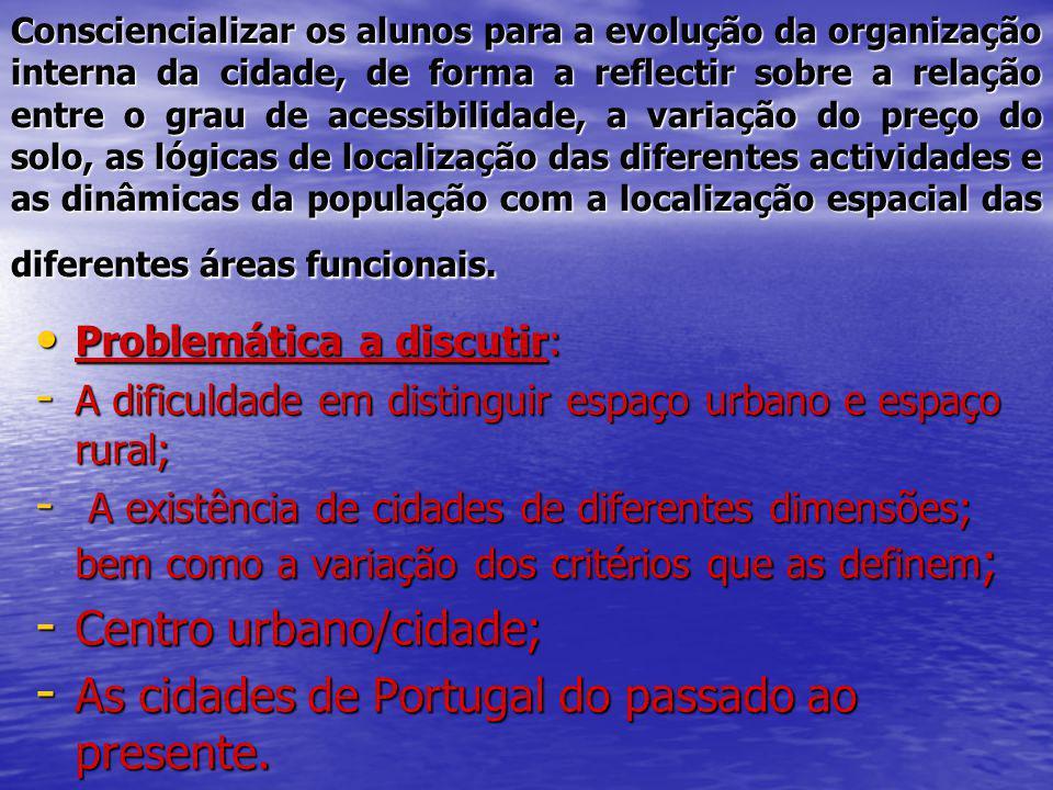 Consciencializar os alunos para a evolução da organização interna da cidade, de forma a reflectir sobre a relação entre o grau de acessibilidade, a va