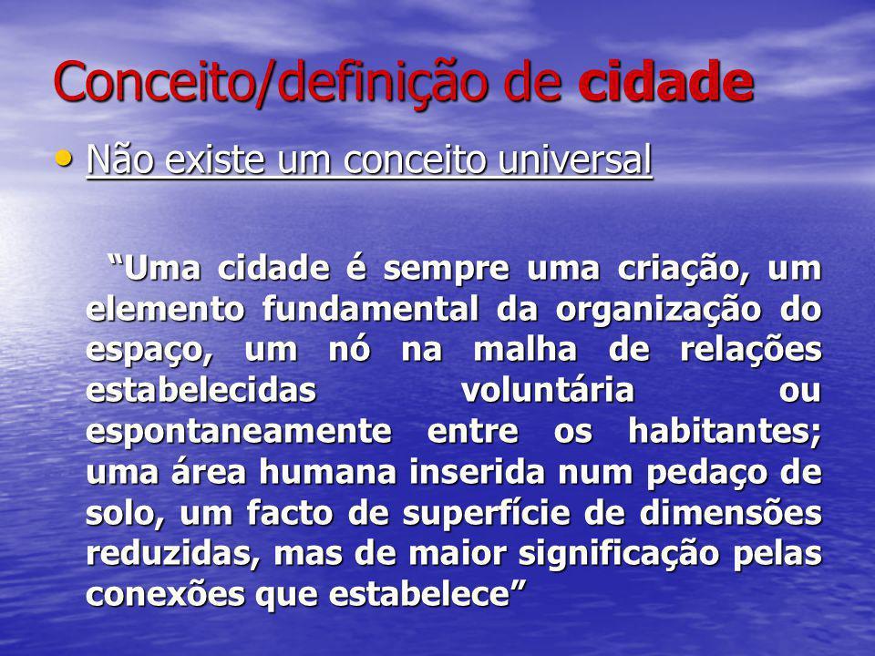 Conceito/definição de cidade Não existe um conceito universal Não existe um conceito universal Uma cidade é sempre uma criação, um elemento fundamenta