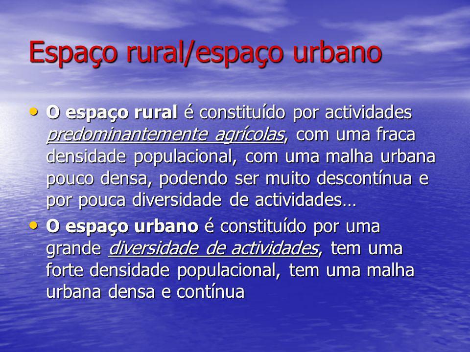 Espaço rural/espaço urbano O espaço rural é constituído por actividades predominantemente agrícolas, com uma fraca densidade populacional, com uma mal