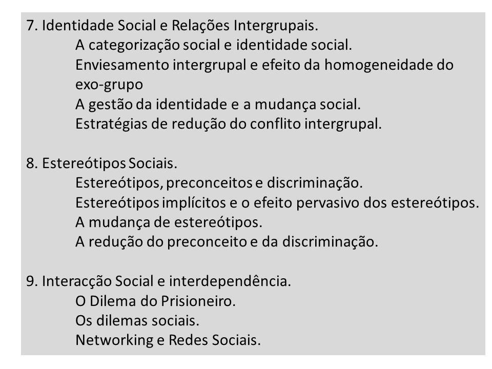 7. Identidade Social e Relações Intergrupais. A categorização social e identidade social. Enviesamento intergrupal e efeito da homogeneidade do exo-gr