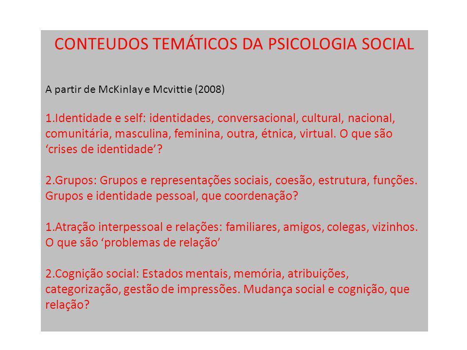 CONTEUDOS TEMÁTICOS DA PSICOLOGIA SOCIAL A partir de McKinlay e Mcvittie (2008) 1.Identidade e self: identidades, conversacional, cultural, nacional,