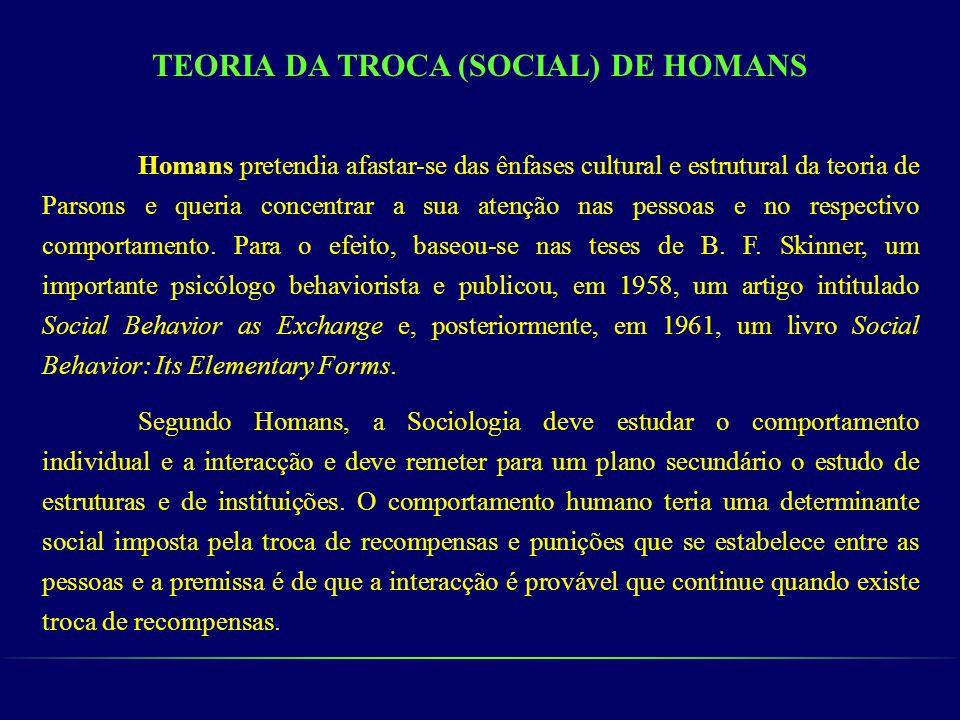 TEORIA DA TROCA (SOCIAL) DE HOMANS Homans pretendia afastar-se das ênfases cultural e estrutural da teoria de Parsons e queria concentrar a sua atençã