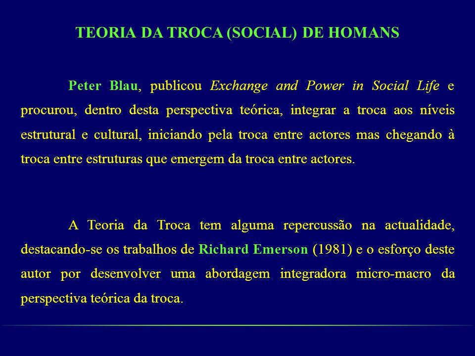 TEORIA DA TROCA (SOCIAL) DE HOMANS Peter Blau, publicou Exchange and Power in Social Life e procurou, dentro desta perspectiva teórica, integrar a tro