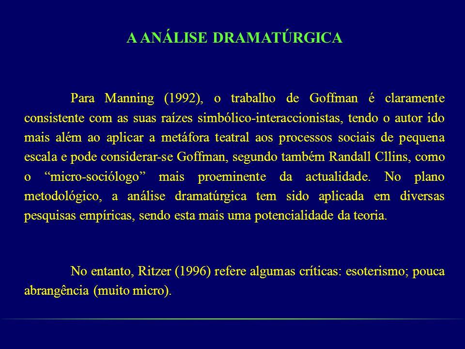 A ANÁLISE DRAMATÚRGICA Para Manning (1992), o trabalho de Goffman é claramente consistente com as suas raízes simbólico-interaccionistas, tendo o auto