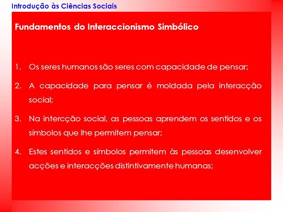Introdução às Ciências Sociais Fundamentos do Interaccionismo Simbólico 1.Os seres humanos são seres com capacidade de pensar; 2.A capacidade para pen