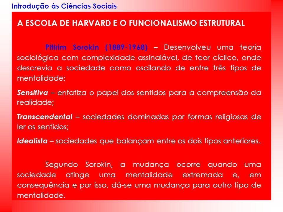 Introdução às Ciências Sociais A ESCOLA DE HARVARD E O FUNCIONALISMO ESTRUTURAL Pitirim Sorokin (1889-1968) – Desenvolveu uma teoria sociológica com c