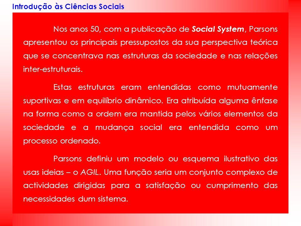 Introdução às Ciências Sociais Nos anos 50, com a publicação de Social System, Parsons apresentou os principais pressupostos da sua perspectiva teóric