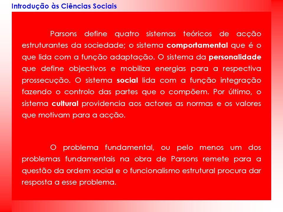 Introdução às Ciências Sociais Parsons define quatro sistemas teóricos de acção estruturantes da sociedade; o sistema comportamental que é o que lida