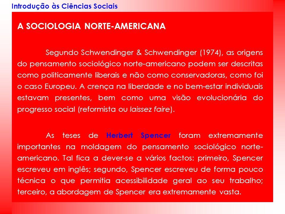 Introdução às Ciências Sociais A SOCIOLOGIA NORTE-AMERICANA Segundo Schwendinger & Schwendinger (1974), as origens do pensamento sociológico norte-ame