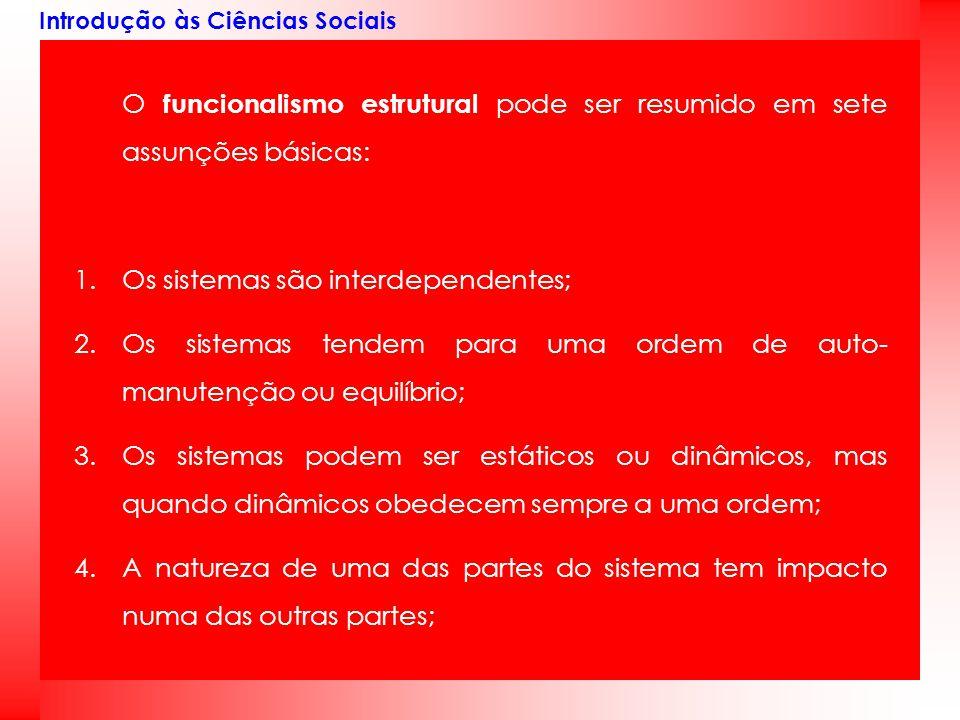 Introdução às Ciências Sociais O funcionalismo estrutural pode ser resumido em sete assunções básicas: 1.Os sistemas são interdependentes; 2.Os sistem