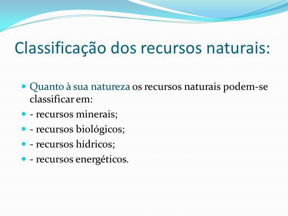 Classificação dos recursos naturais: Quanto à sua natureza os recursos naturais podem-se classificar em: - recursos minerais; - recursos biológicos; - recursos hídricos; - recursos energéticos.