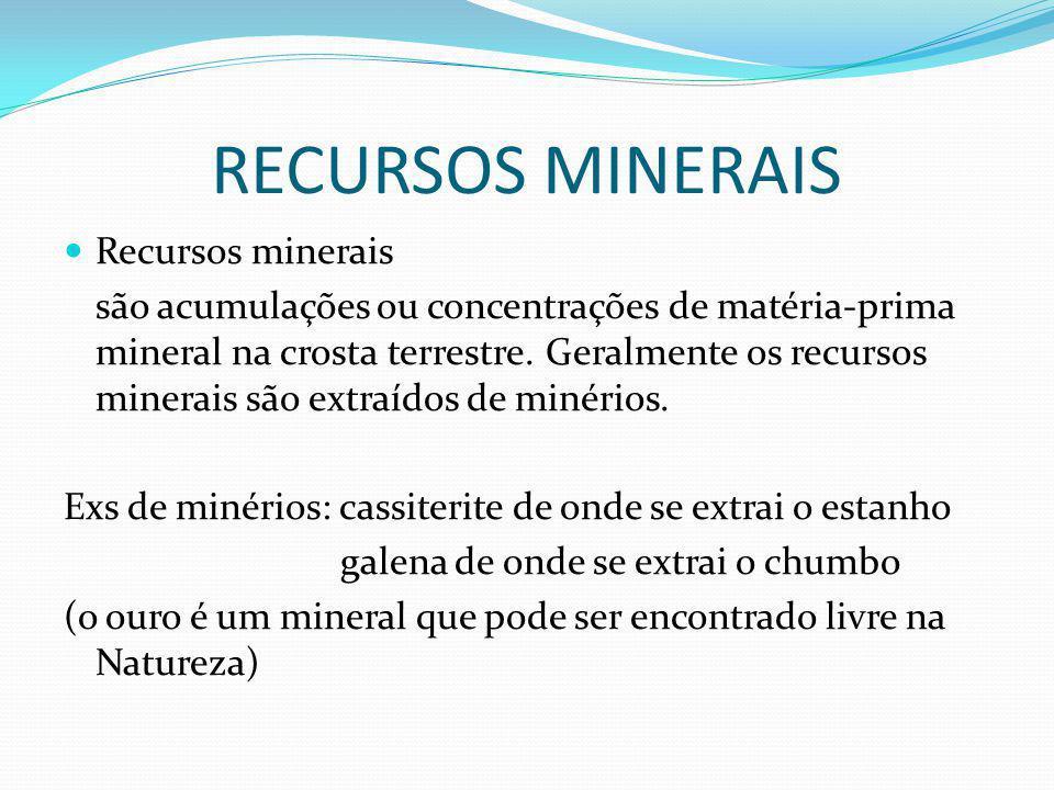 RECURSOS MINERAIS Recursos minerais são acumulações ou concentrações de matéria-prima mineral na crosta terrestre.