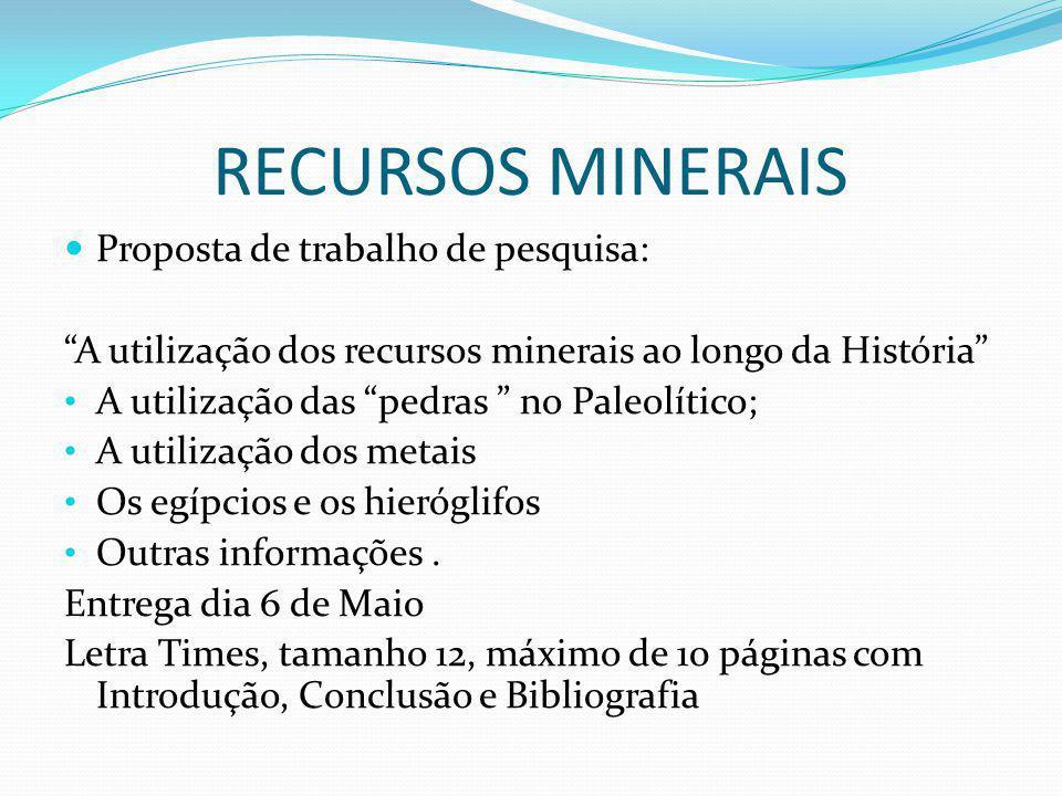 RECURSOS MINERAIS Proposta de trabalho de pesquisa: A utilização dos recursos minerais ao longo da História A utilização das pedras no Paleolítico; A utilização dos metais Os egípcios e os hieróglifos Outras informações.