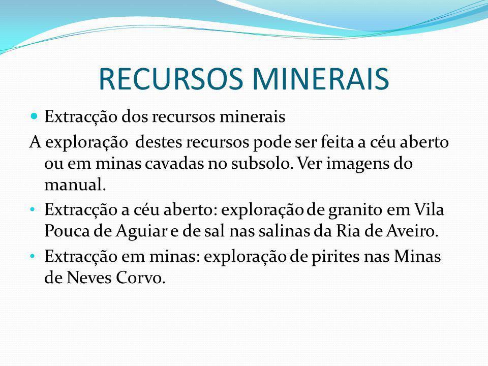RECURSOS MINERAIS Extracção dos recursos minerais A exploração destes recursos pode ser feita a céu aberto ou em minas cavadas no subsolo.