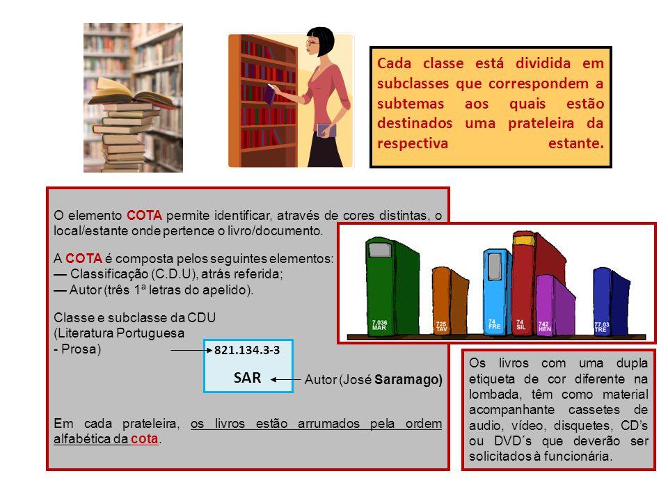 Cada classe está dividida em subclasses que correspondem a subtemas aos quais estão destinados uma prateleira da respectiva estante. O elemento COTA p