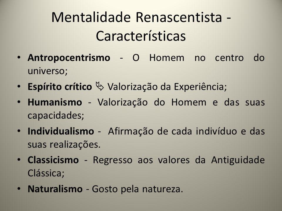 Mentalidade Renascentista - Características Antropocentrismo - O Homem no centro do universo; Espírito crítico Valorização da Experiência; Humanismo -