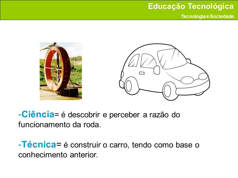 -Ciência = é descobrir e perceber a razão do funcionamento da roda. -Técnica= é construir o carro, tendo como base o conhecimento anterior. Educação T