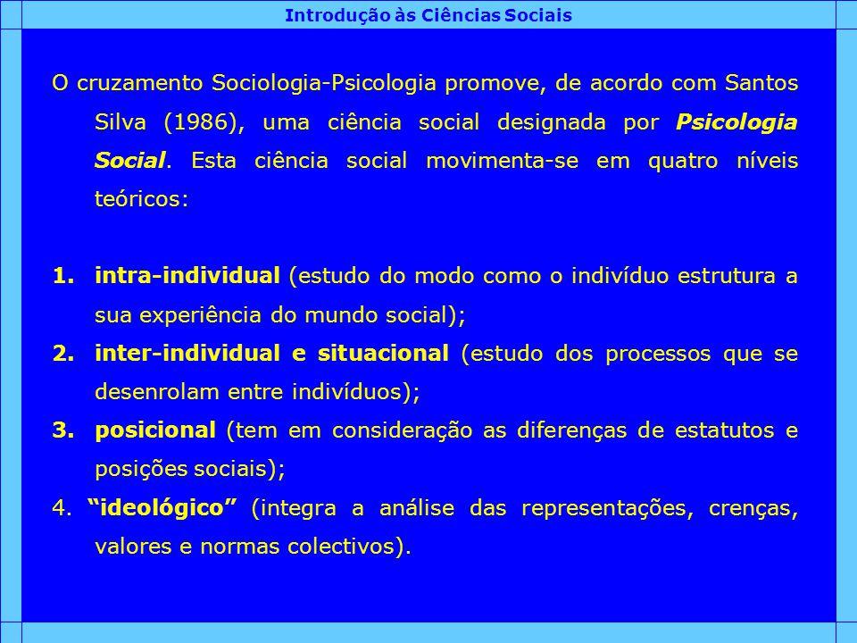 Introdução às Ciências Sociais O cruzamento Sociologia-Psicologia promove, de acordo com Santos Silva (1986), uma ciência social designada por Psicolo