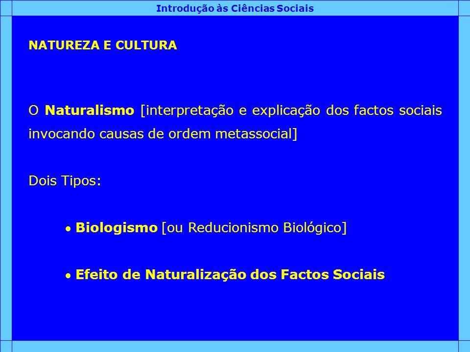 Introdução às Ciências Sociais NATUREZA E CULTURA O Naturalismo [interpretação e explicação dos factos sociais invocando causas de ordem metassocial]
