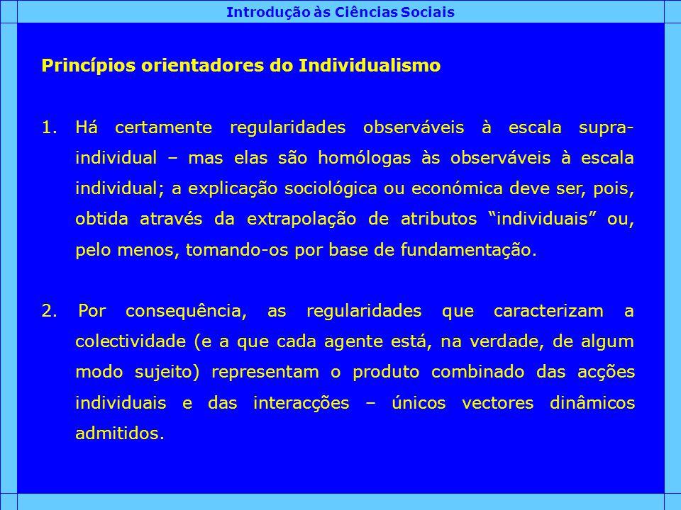 Introdução às Ciências Sociais Princípios orientadores do Individualismo 1.Há certamente regularidades observáveis à escala supra- individual – mas el