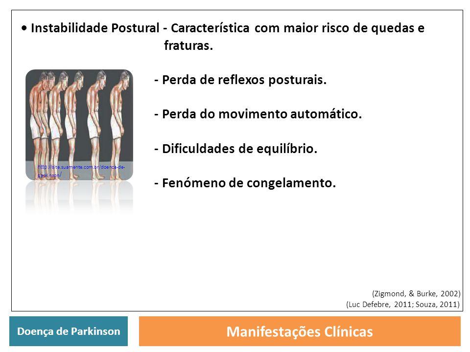 Doença de Parkinson Manifestações Clínicas Instabilidade Postural - Característica com maior risco de quedas e fraturas. - Perda de reflexos posturais