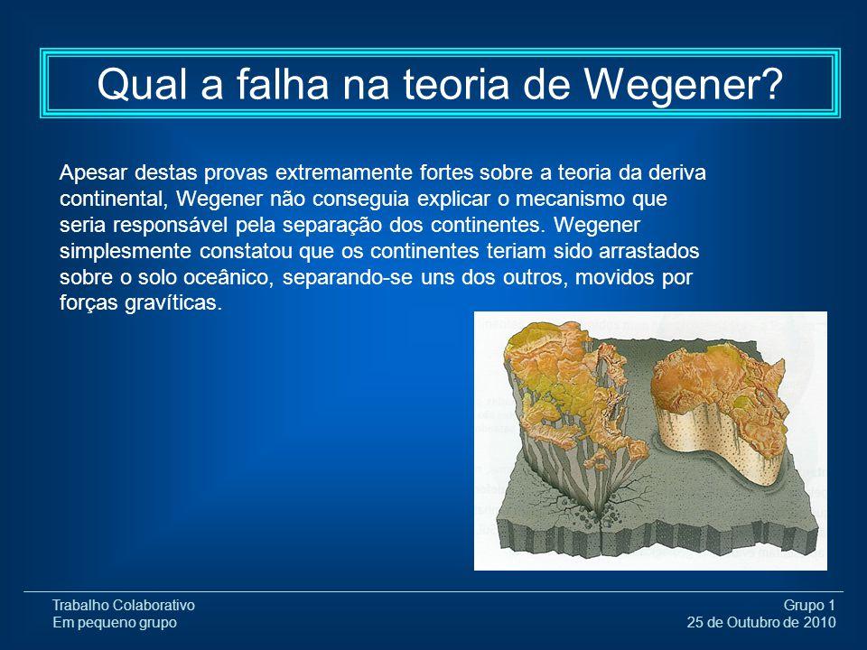 Trabalho Colaborativo Em pequeno grupo Grupo 1 25 de Outubro de 2010 Qual a falha na teoria de Wegener? Apesar destas provas extremamente fortes sobre