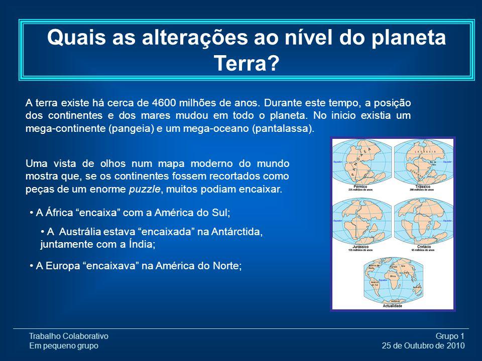 Trabalho Colaborativo Em pequeno grupo Grupo 1 25 de Outubro de 2010 A terra existe há cerca de 4600 milhões de anos. Durante este tempo, a posição do