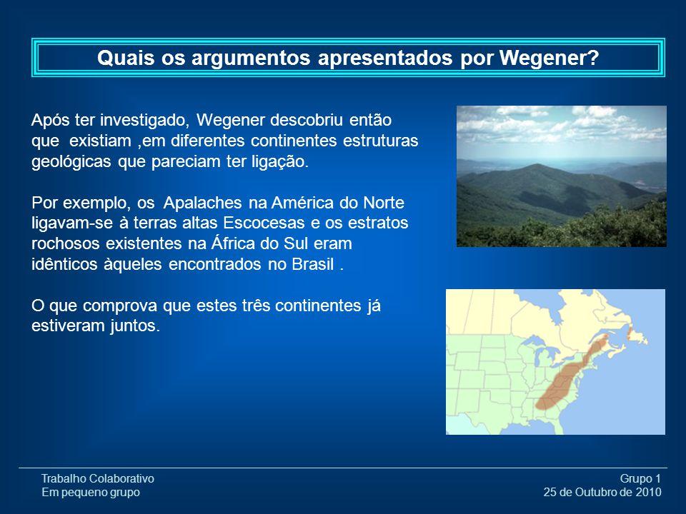 Trabalho Colaborativo Em pequeno grupo Grupo 1 25 de Outubro de 2010 Após ter investigado, Wegener descobriu então que existiam,em diferentes continen