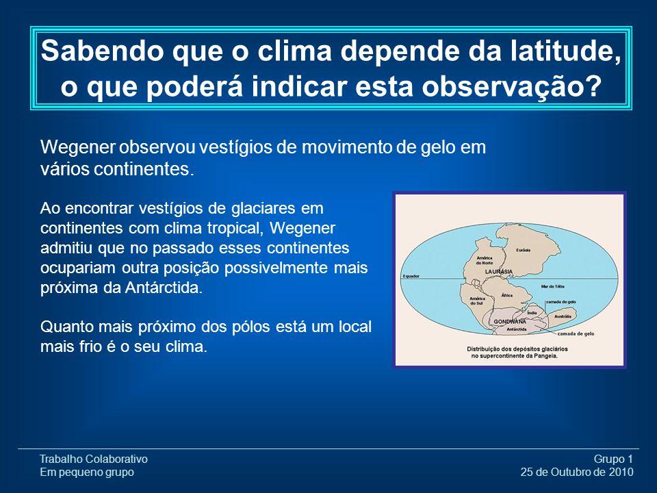 Trabalho Colaborativo Em pequeno grupo Grupo 1 25 de Outubro de 2010 Wegener observou vestígios de movimento de gelo em vários continentes. Sabendo qu