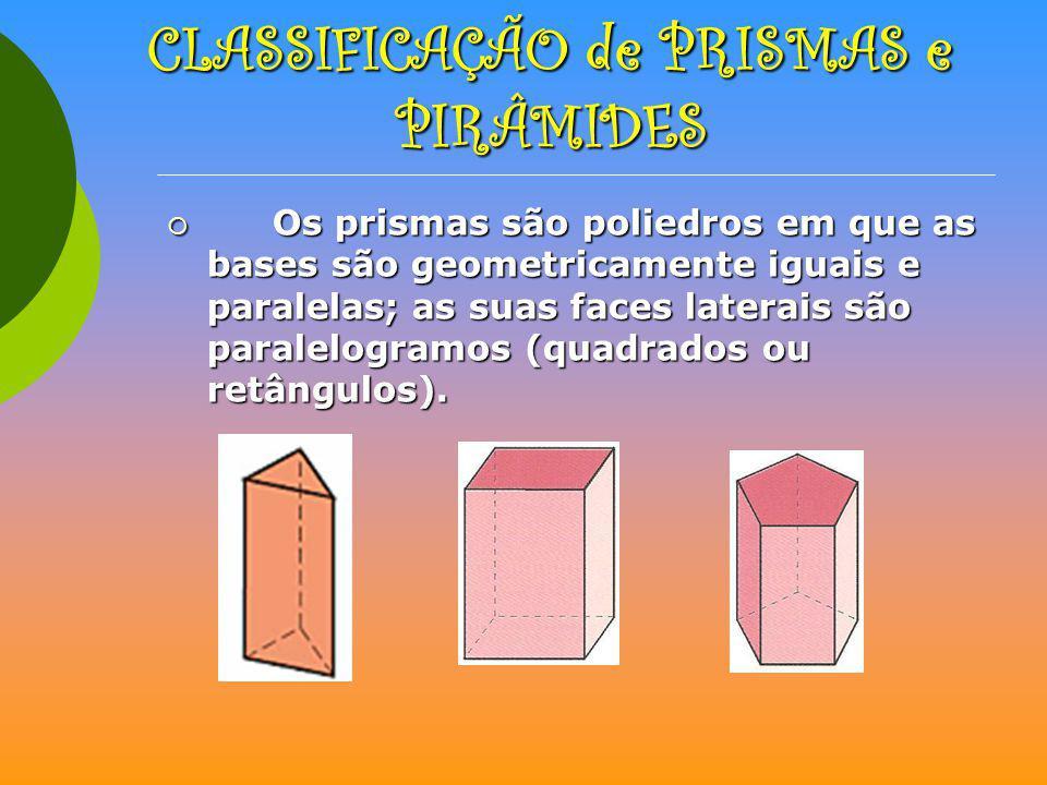 CLASSIFICAÇÃO de PRISMAS e PIRÂMIDES Os prismas são poliedros em que as bases são geometricamente iguais e paralelas; as suas faces laterais são paral