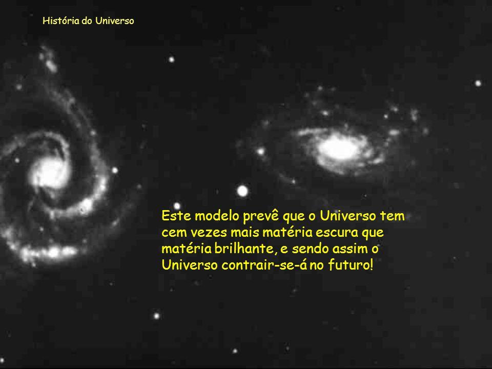 História do Universo Como se vê na imagem, neste modelo, a velocidade de expansão, nos tempos mais primitivos, foi muito maior que no caso do modelo d