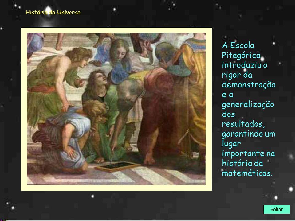 História do Universo Pitágoras (582a.C - 497a.C) Como muitos sábios da antiguidade clássica, Pitágoras tem seu perfil traçado em obras que atravessara
