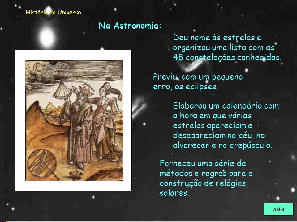 História do Universo Cláudio Ptolomeu (87 – 151) Astrónomo grego que, com os seus estudos e livros, contribuiu para diversos ramos da Ciência.