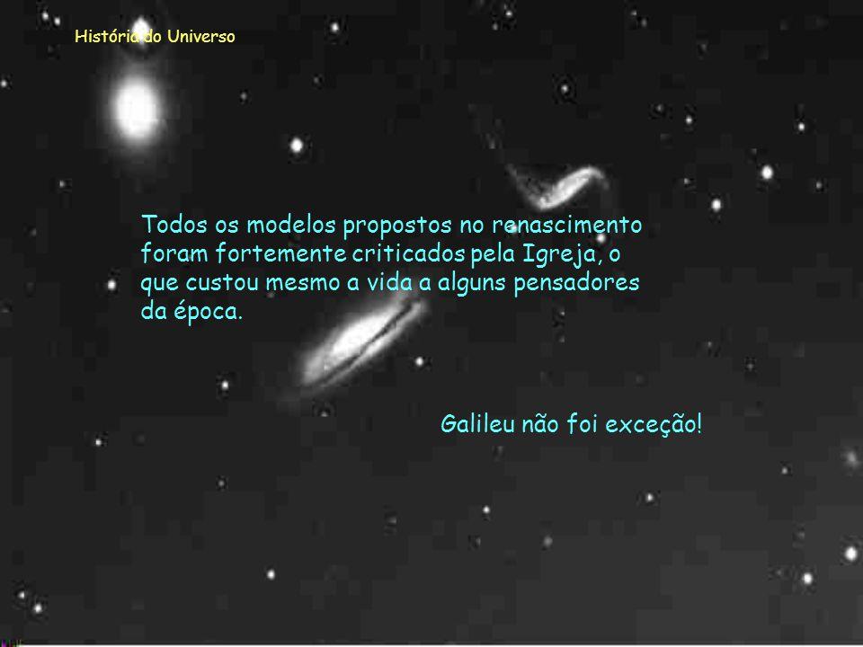 História do Universo Conta-se que um dia Galileu para tentar o apoio dos religiosos os tentou convencer a olharem o céu através da sua luneta! Mas foi