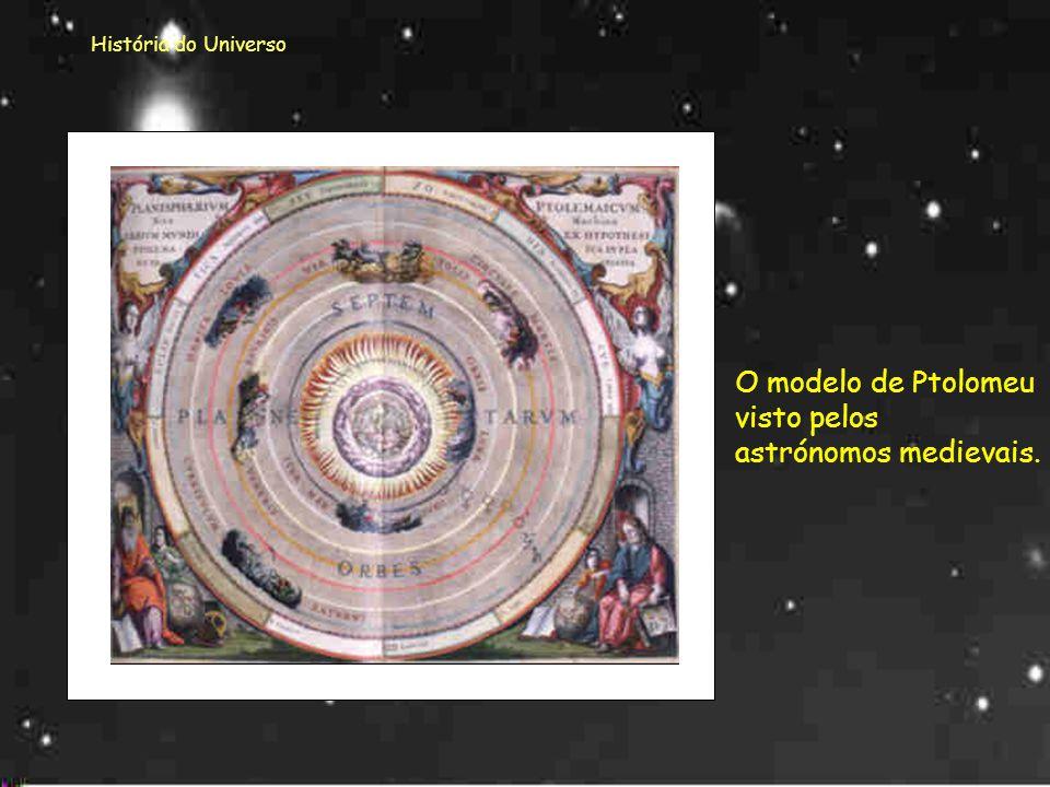 História do Universo Esta imagem apresenta o esquema de universo segundo Ptolomeu. Ptolomeu Nele a Terra ocupava o centro. À sua volta encontravam-se,