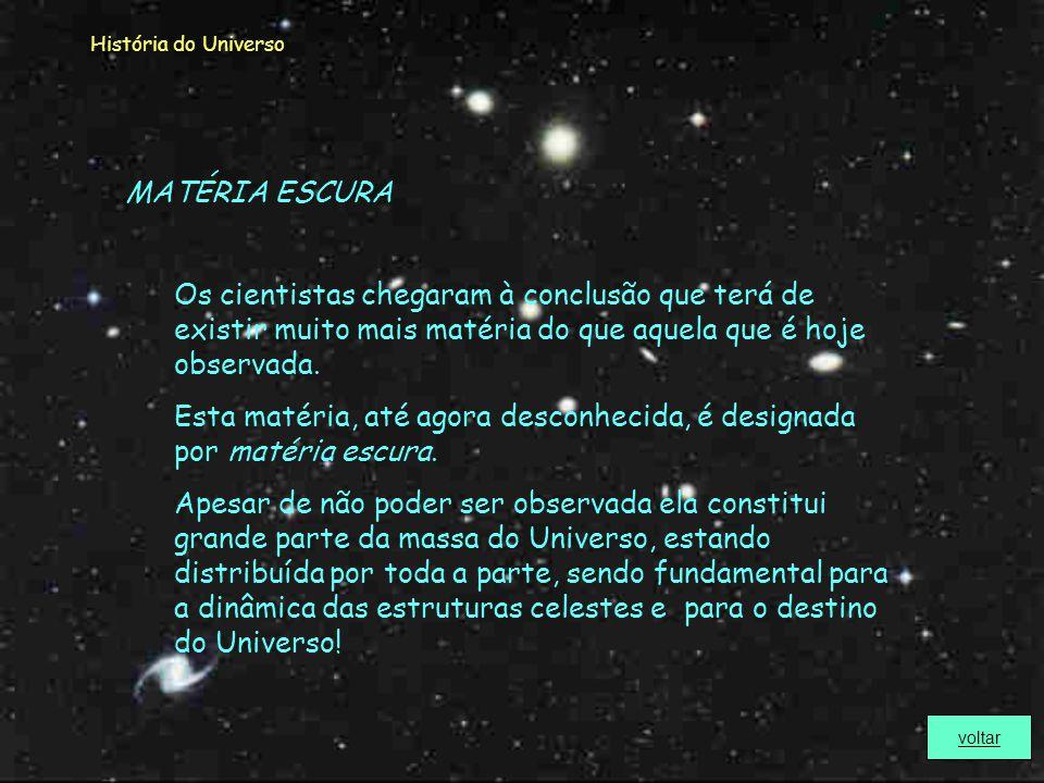 História do Universo CONSTANTE COSMOLÓGICA A constante cosmológica não é mais que a densidade da energia do vácuo. A densidade da energia do vácuo pro